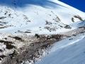 L'avalanche de neige lourde de la veillle