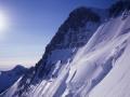 Sur notre gauche le couloir des Italiens que j'ai gravis avec Daniel en juin 1992 les minuscules petits points à gauche du sérac sont des grimpeurs.