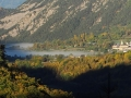 Le plan d'eau de Valbonnais sous la brume