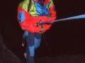 """Descente de nuit depuis l'arête des Flammes de Pierre dans le """"glauquissime"""" Entonnoir des Drus, pour rejoindre le pied du Pilier Sud-Ouest des Drus ou Pilier Bonatti"""