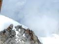 Cordées qui remontent l'arête de neige de l'Aiguille que nous avons descendu le matin
