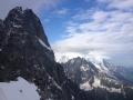 Depuis le téléphérique des Grands Montet, les Drus et le Mont-Blanc dans les nuages