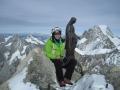 Francine au sommet de la Dent du Géant, quelques jours avant notre visite