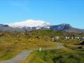 Le camping d'Hellisandur avec vue sur le Snaefellsjökull, le volcan choisi par Jules Verne pour son «Voyage au centre de la Terre»