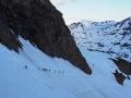 Dans la traversée très exposée en neige dure